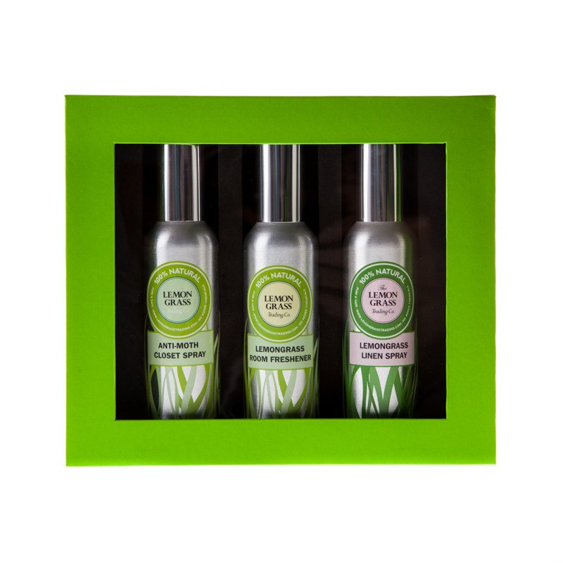 GIFT Box set: Lemongrass Anti-Moth Closet Spray, Lemongrass Room Freshener, Lemongrass Linen Spray